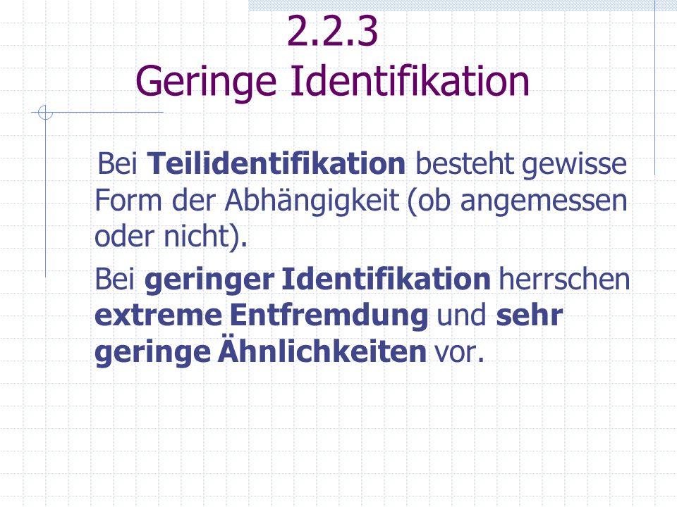 2.2.3 Geringe Identifikation
