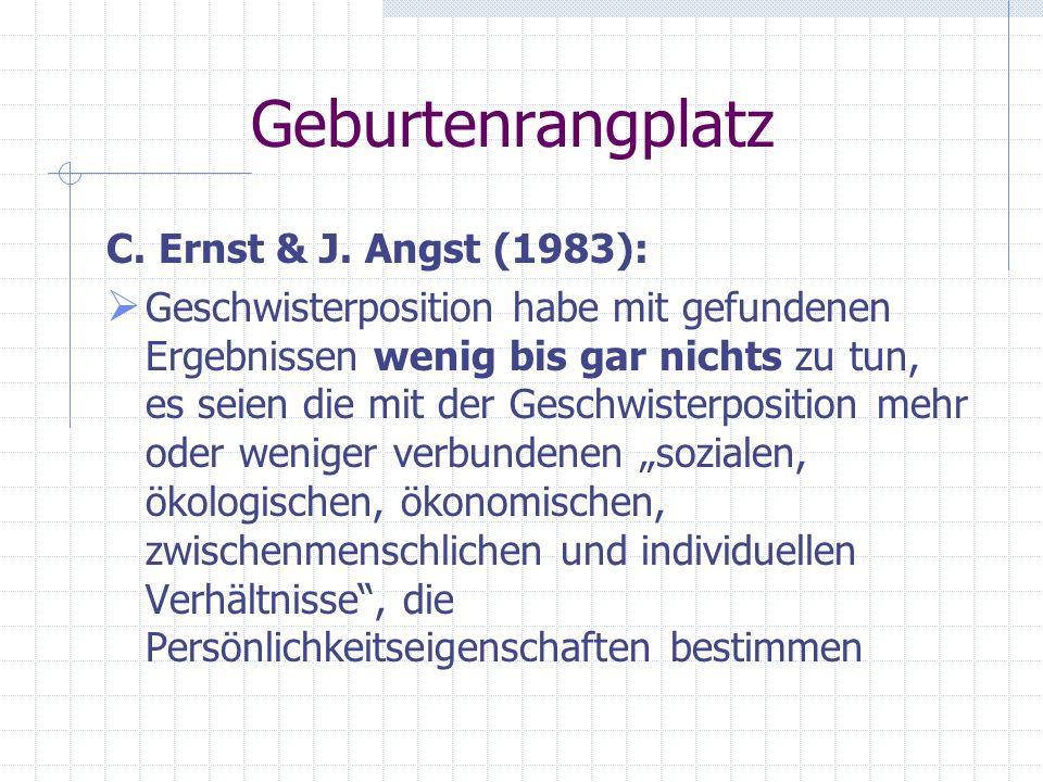 Geburtenrangplatz C. Ernst & J. Angst (1983):