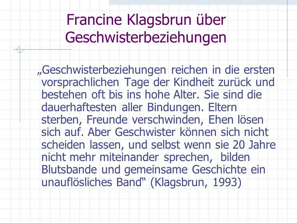 Francine Klagsbrun über Geschwisterbeziehungen