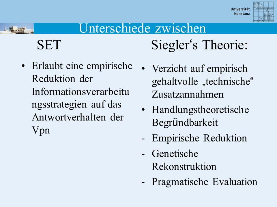 Unterschiede zwischen SET Siegler's Theorie: