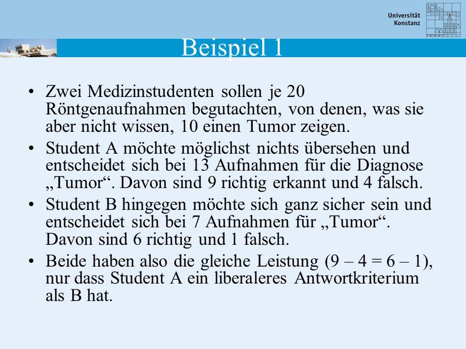 Beispiel 1 Zwei Medizinstudenten sollen je 20 Röntgenaufnahmen begutachten, von denen, was sie aber nicht wissen, 10 einen Tumor zeigen.