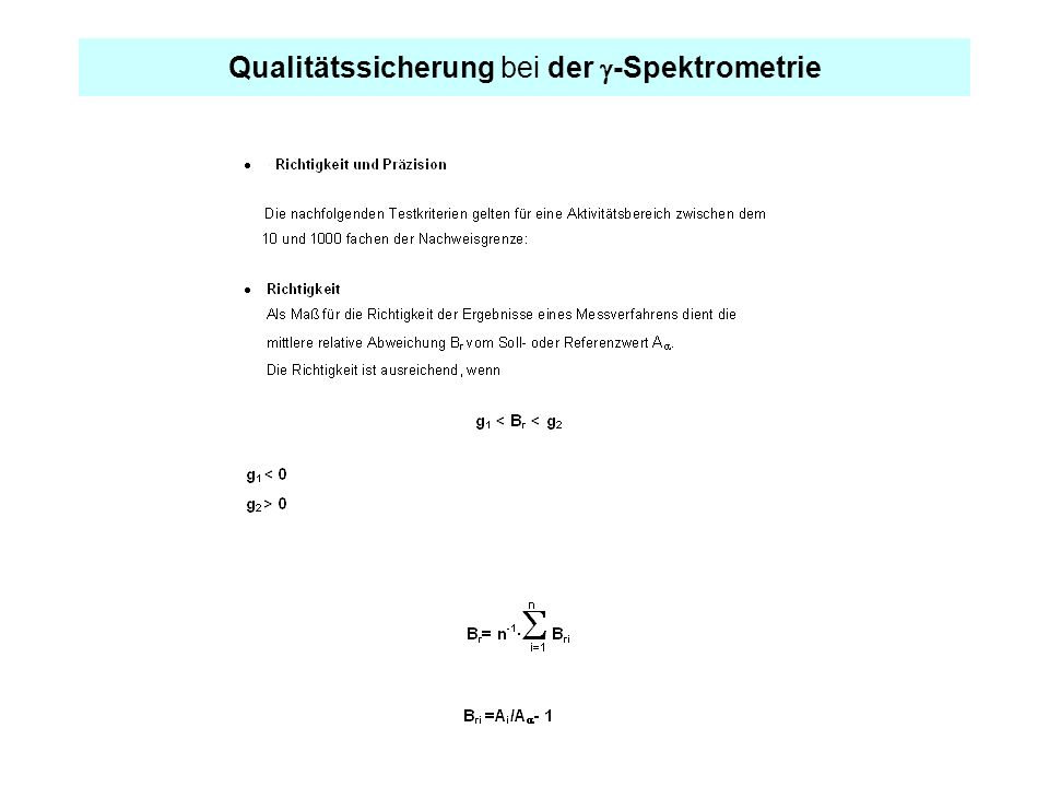 Qualitätssicherung bei der g-Spektrometrie