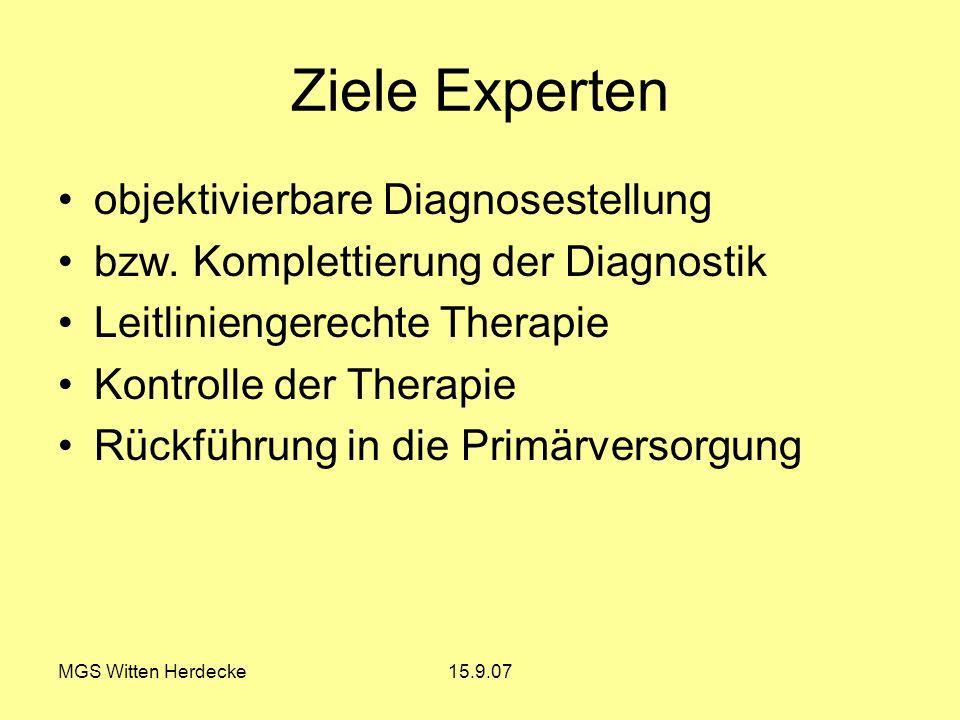 Ziele Experten objektivierbare Diagnosestellung