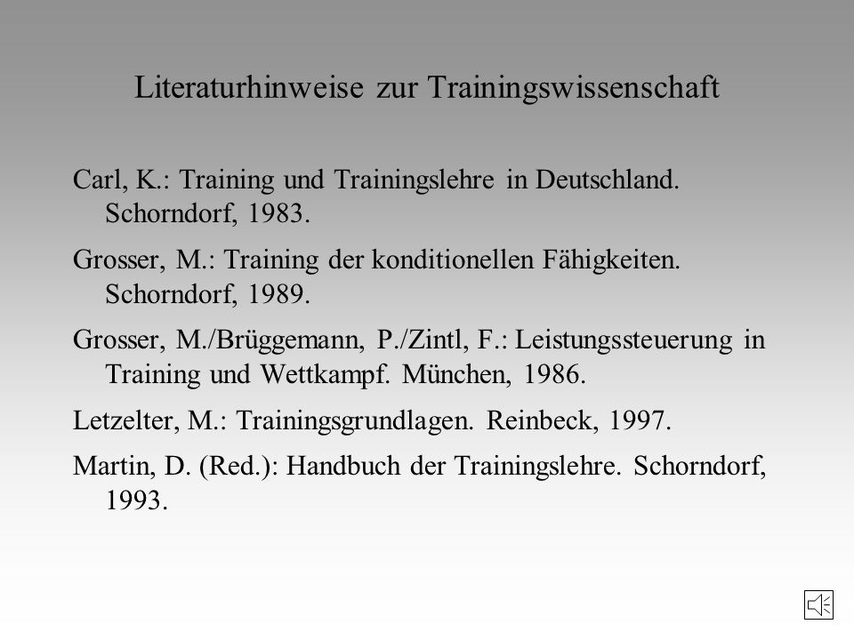 Literaturhinweise zur Trainingswissenschaft