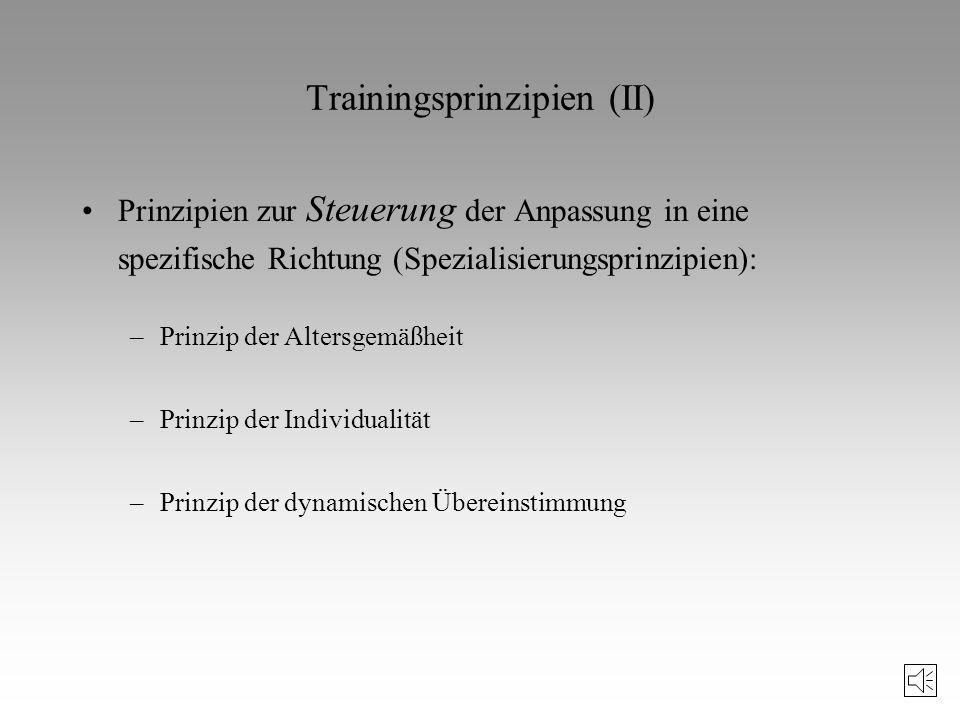 Trainingsprinzipien (II)