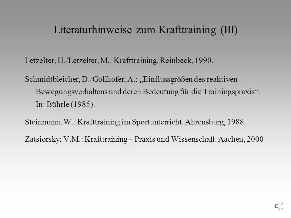 Literaturhinweise zum Krafttraining (III)
