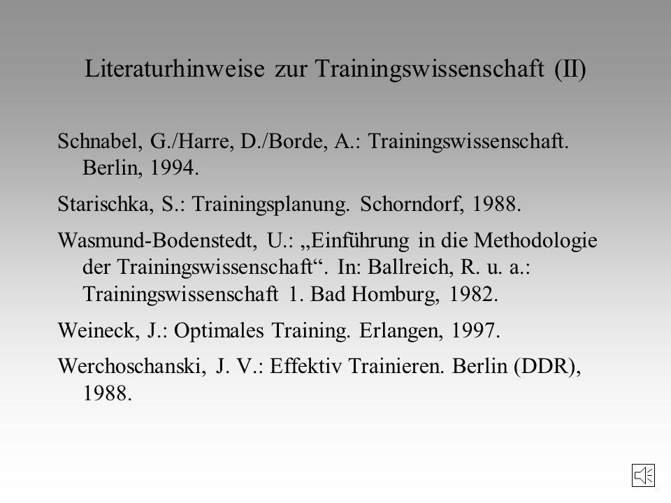Literaturhinweise zur Trainingswissenschaft (II)