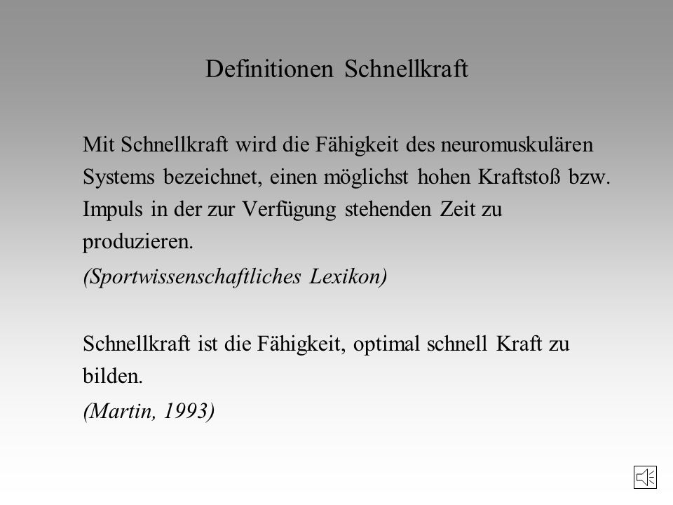 Definitionen Schnellkraft