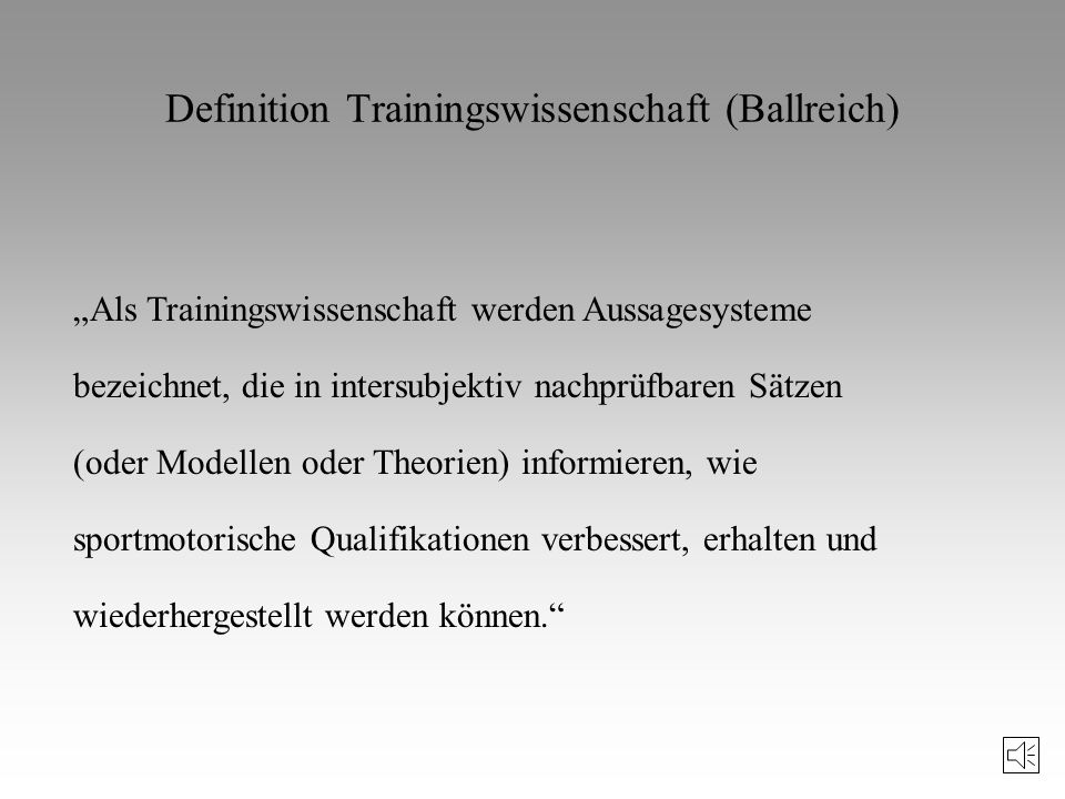 Definition Trainingswissenschaft (Ballreich)