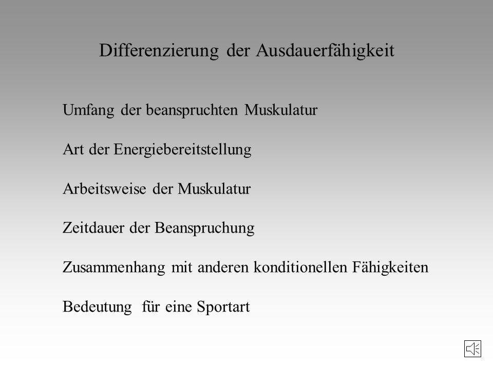 Differenzierung der Ausdauerfähigkeit