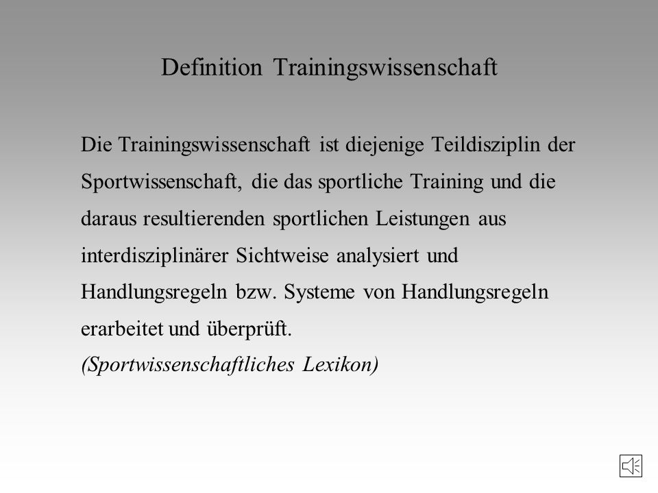 Definition Trainingswissenschaft
