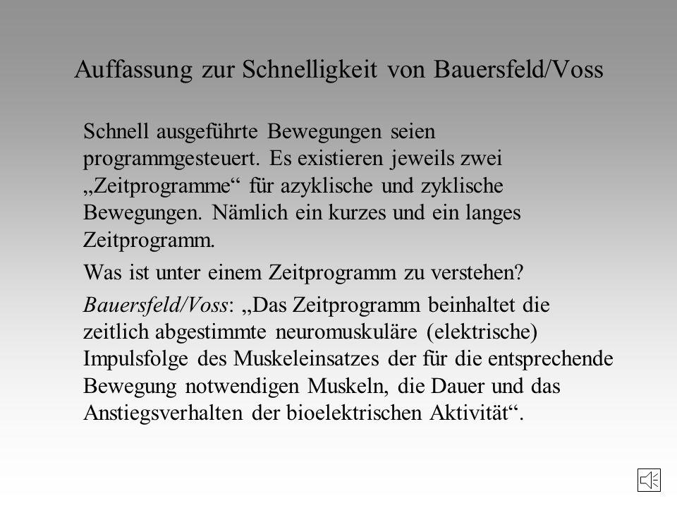 Auffassung zur Schnelligkeit von Bauersfeld/Voss