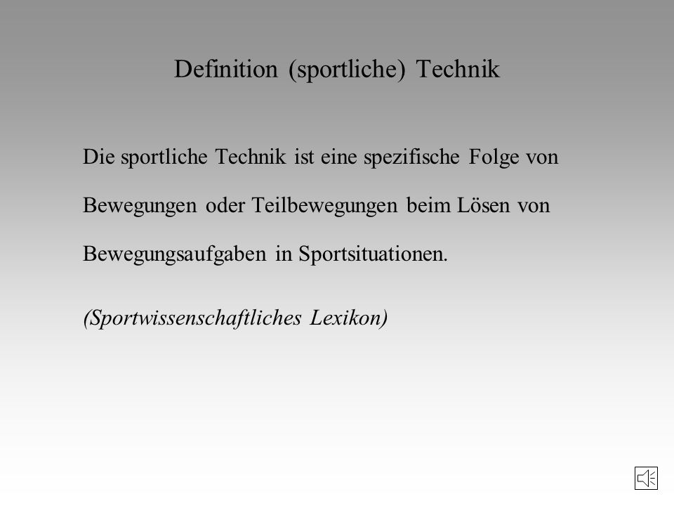 Definition (sportliche) Technik