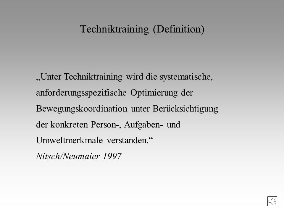 Techniktraining (Definition)