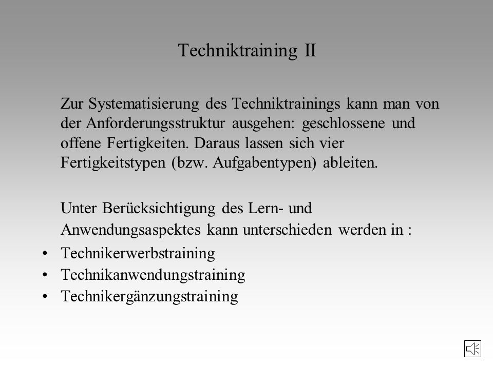 Techniktraining II