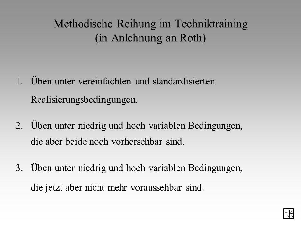 Methodische Reihung im Techniktraining (in Anlehnung an Roth)