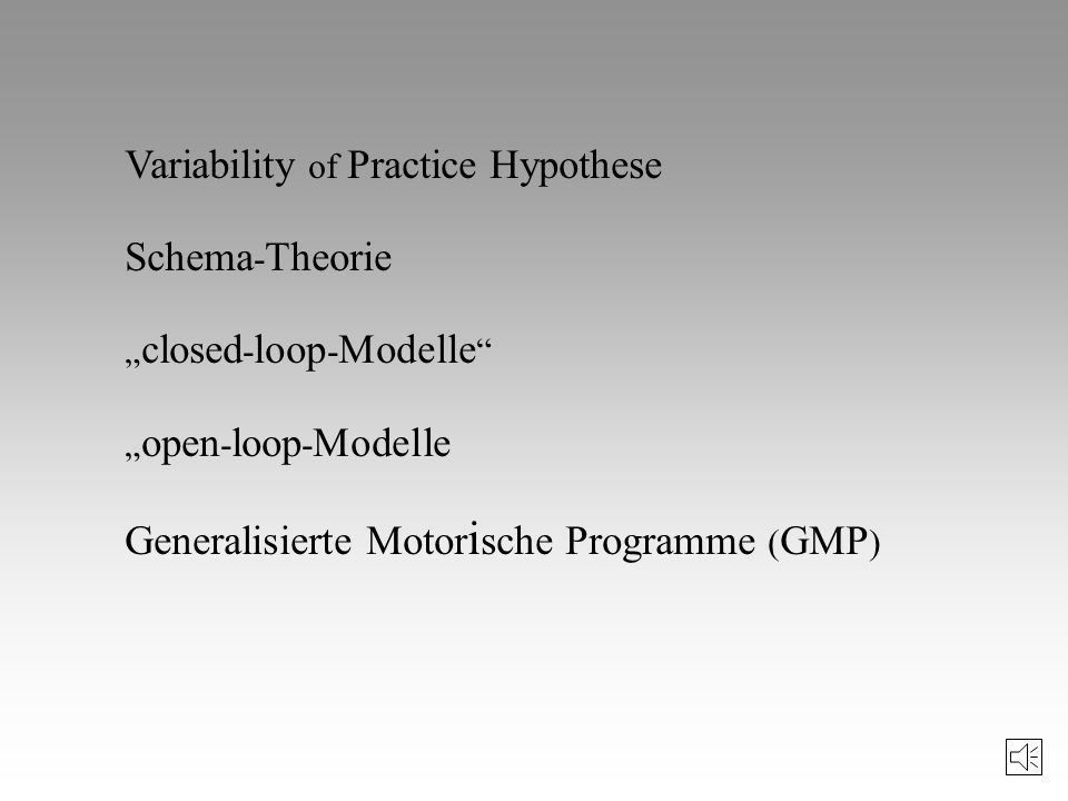 Variability of Practice Hypothese Schema-Theorie