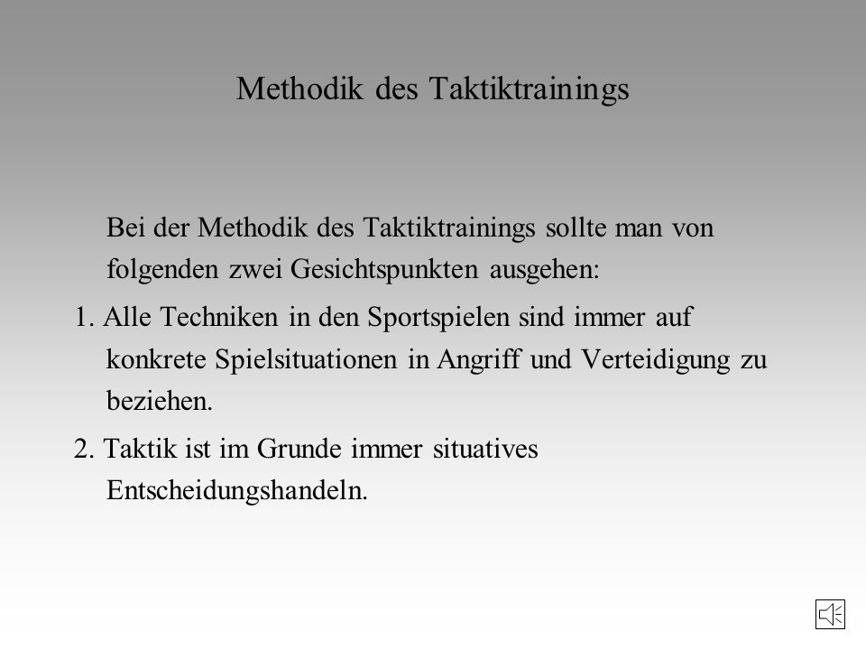 Methodik des Taktiktrainings