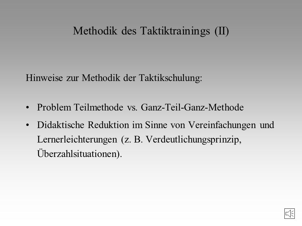 Methodik des Taktiktrainings (II)
