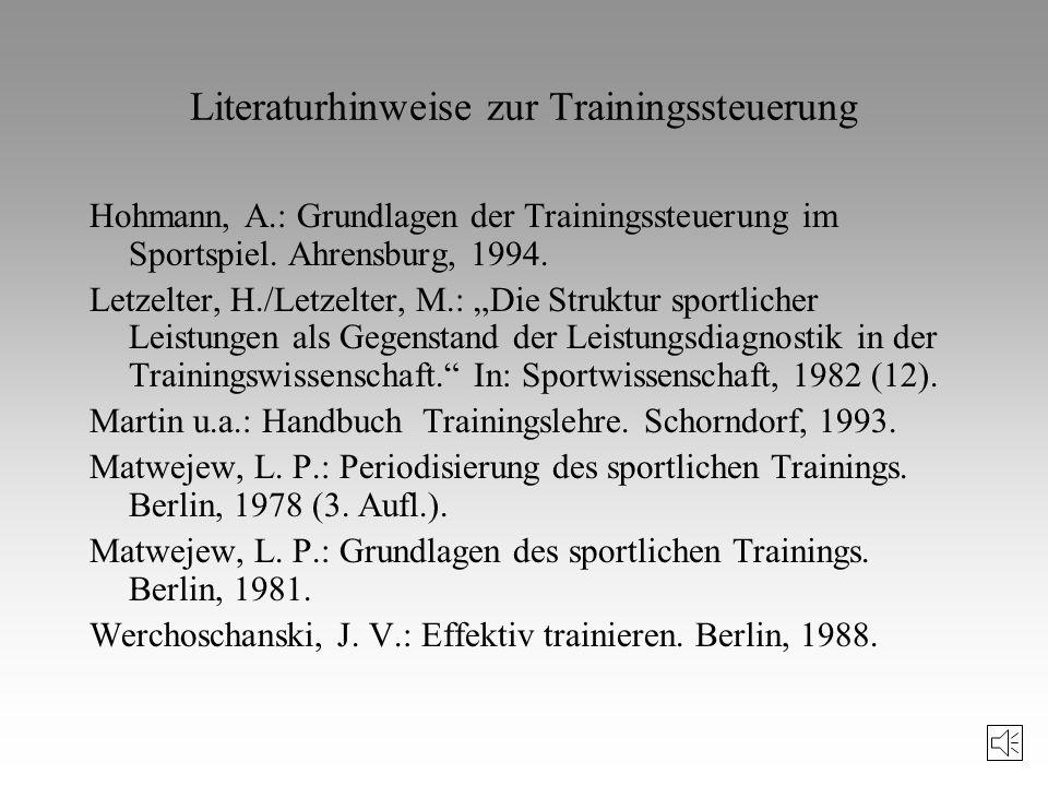 Literaturhinweise zur Trainingssteuerung