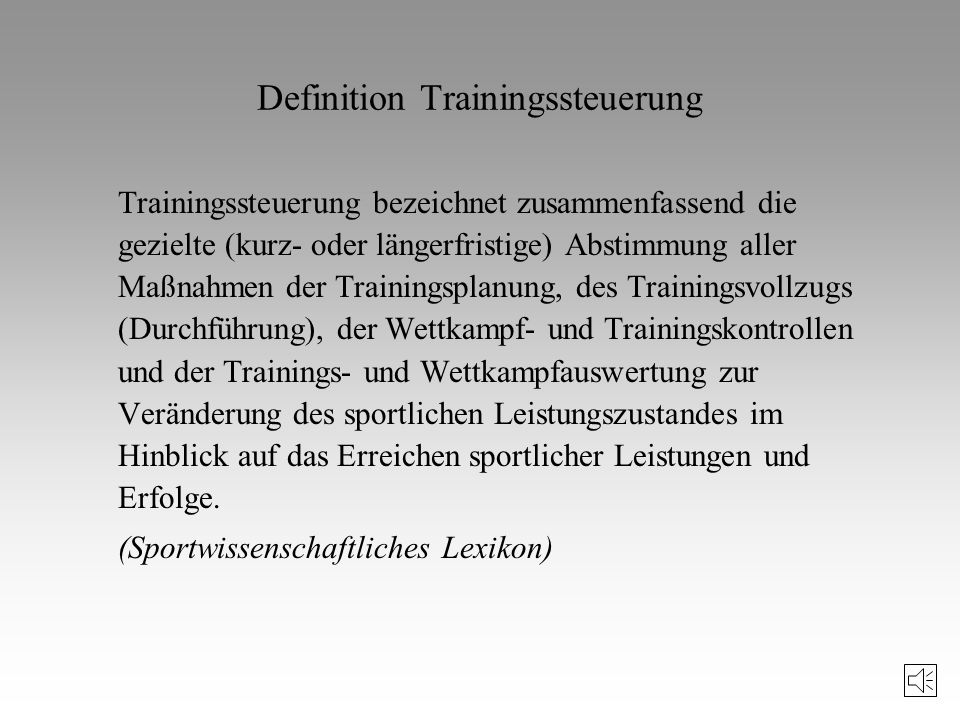 Definition Trainingssteuerung