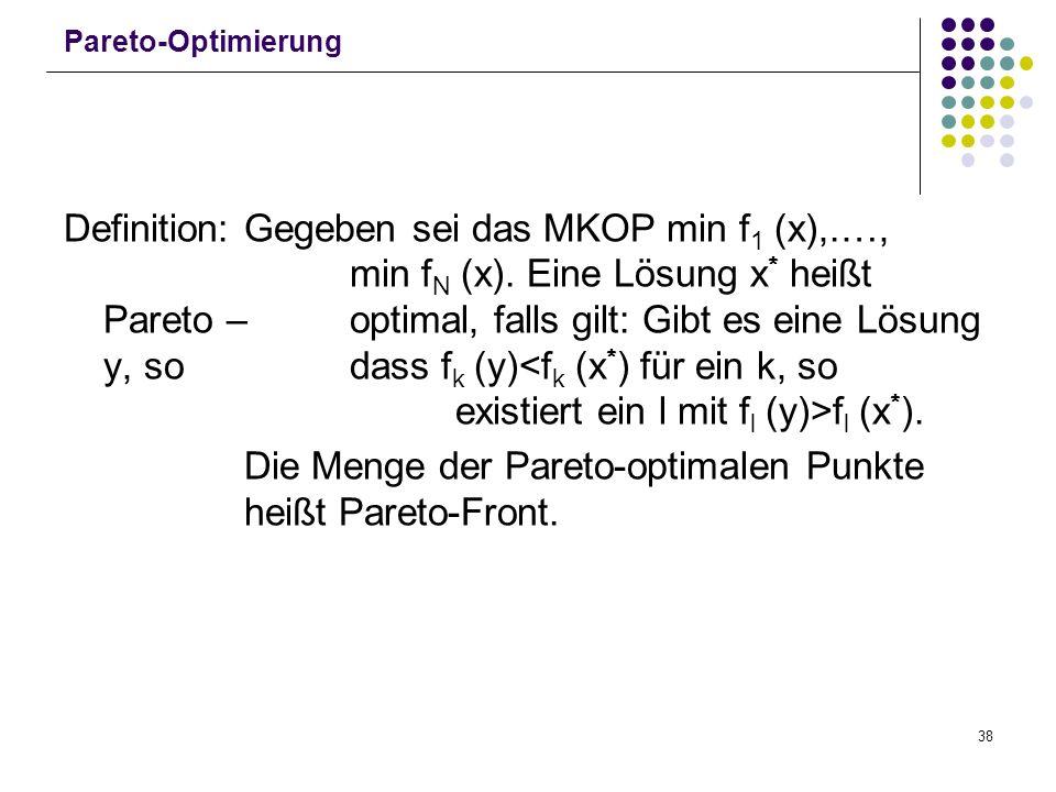 Die Menge der Pareto-optimalen Punkte heißt Pareto-Front.