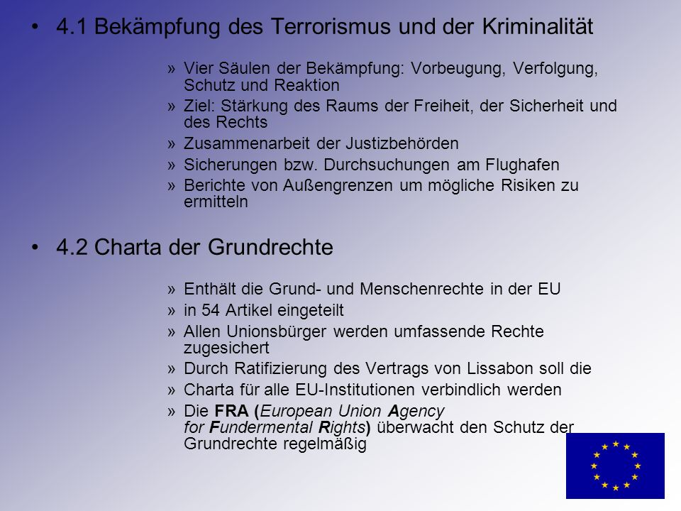 4.1 Bekämpfung des Terrorismus und der Kriminalität
