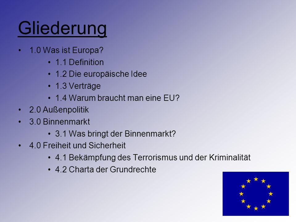 Gliederung 1.0 Was ist Europa 1.1 Definition 1.2 Die europäische Idee