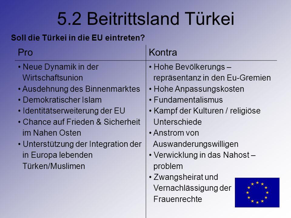 5.2 Beitrittsland Türkei Pro Kontra