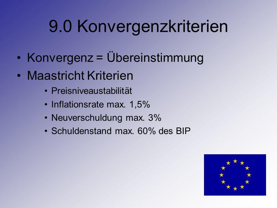9.0 Konvergenzkriterien Konvergenz = Übereinstimmung