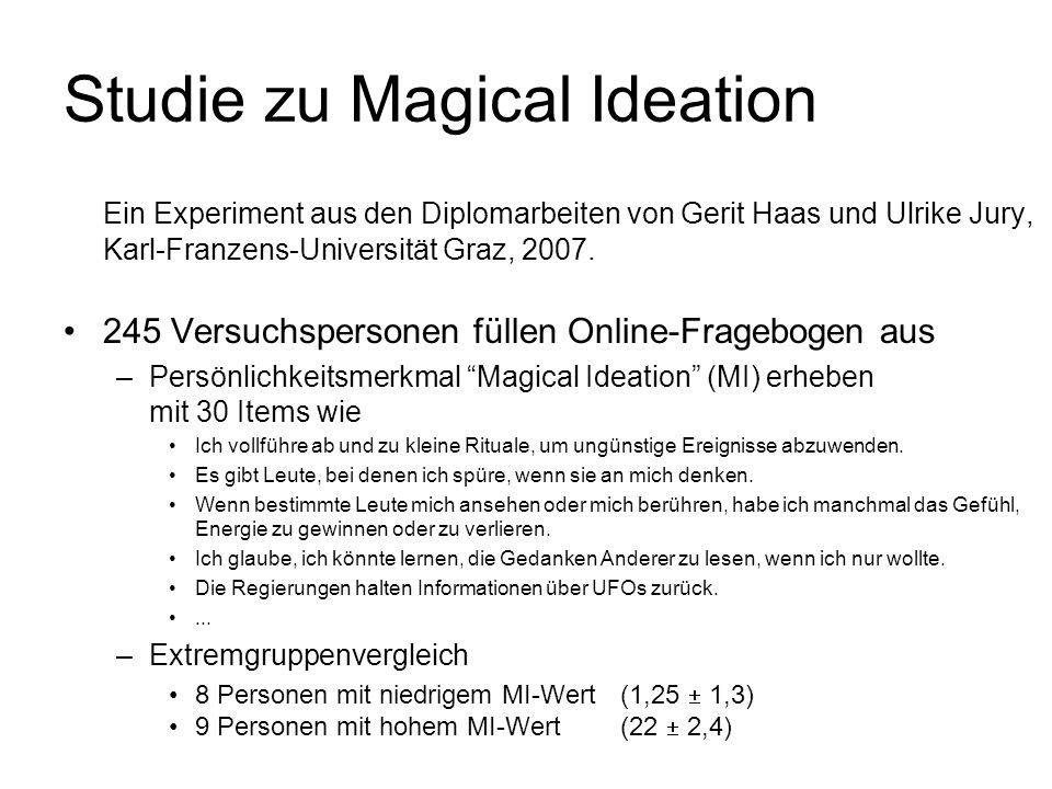 Studie zu Magical Ideation