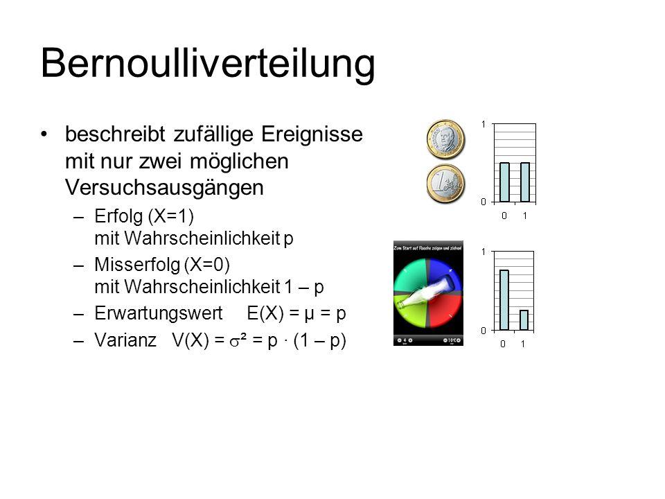 Bernoulliverteilungbeschreibt zufällige Ereignisse mit nur zwei möglichen Versuchsausgängen. Erfolg (X=1) mit Wahrscheinlichkeit p.