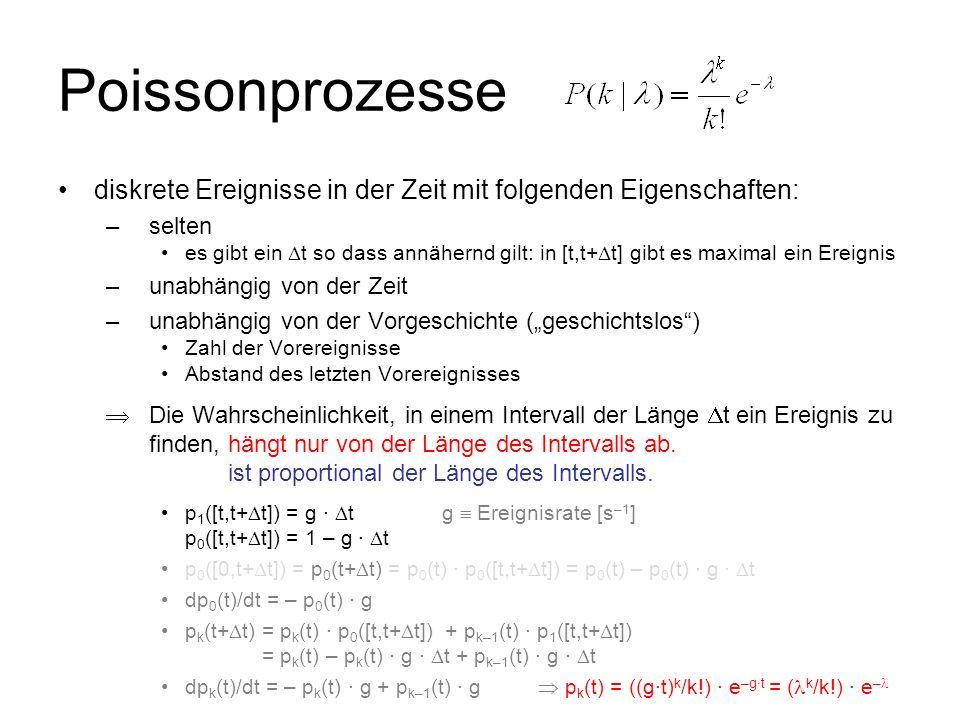 Poissonprozesse diskrete Ereignisse in der Zeit mit folgenden Eigenschaften: selten.