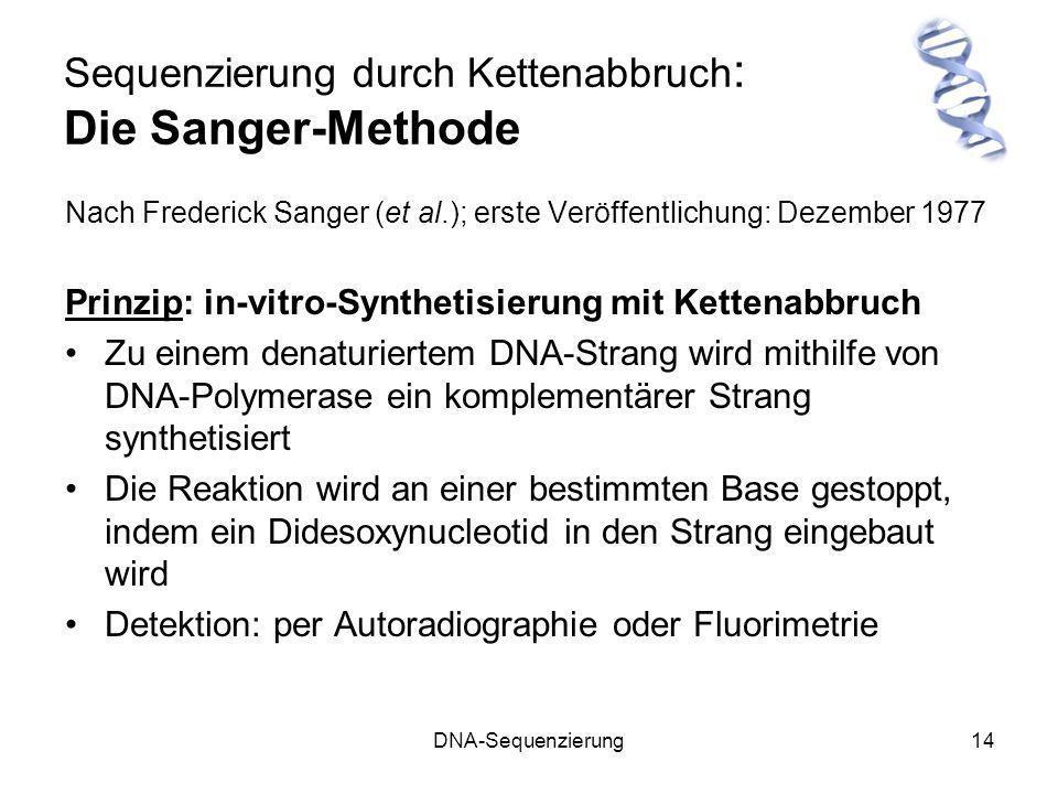 Sequenzierung durch Kettenabbruch: Die Sanger-Methode