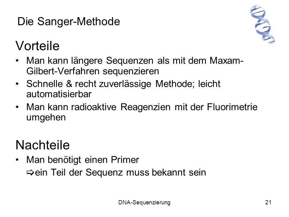 Vorteile Nachteile Die Sanger-Methode