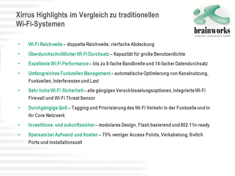 Xirrus Highlights im Vergleich zu traditionellen Wi-Fi-Systemen