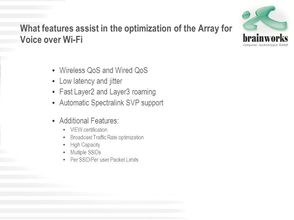 What features assist in the optimization of the Array for Voice over Wi-Fi