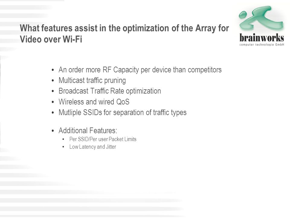 What features assist in the optimization of the Array for Video over Wi-Fi