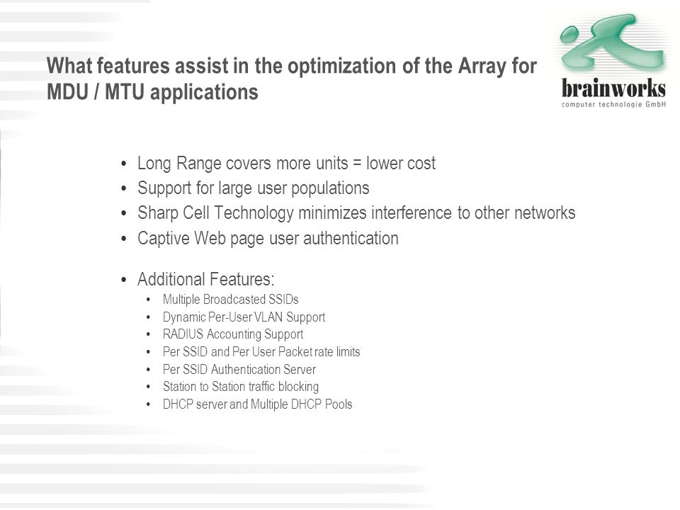 What features assist in the optimization of the Array for MDU / MTU applications