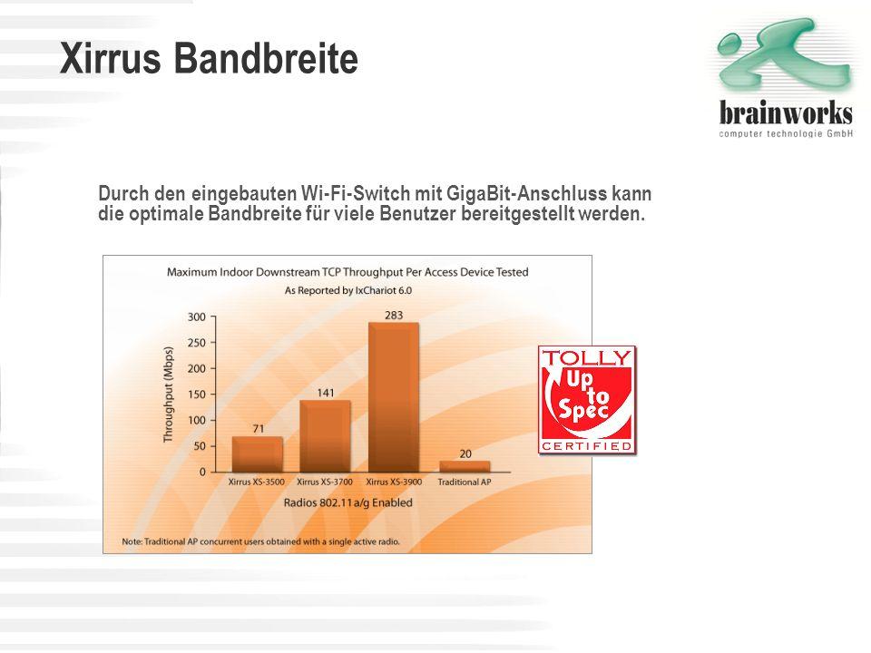 Xirrus BandbreiteDurch den eingebauten Wi-Fi-Switch mit GigaBit-Anschluss kann die optimale Bandbreite für viele Benutzer bereitgestellt werden.