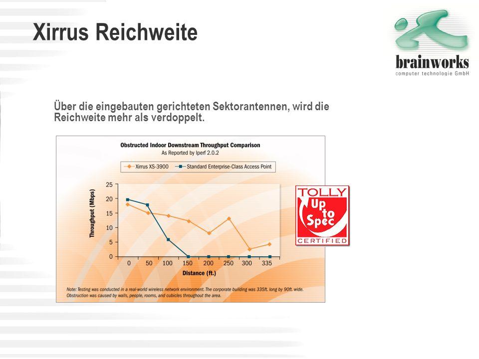 Xirrus Reichweite Über die eingebauten gerichteten Sektorantennen, wird die Reichweite mehr als verdoppelt.