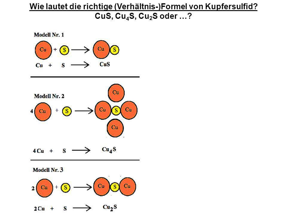 Wie lautet die richtige (Verhältnis-)Formel von Kupfersulfid