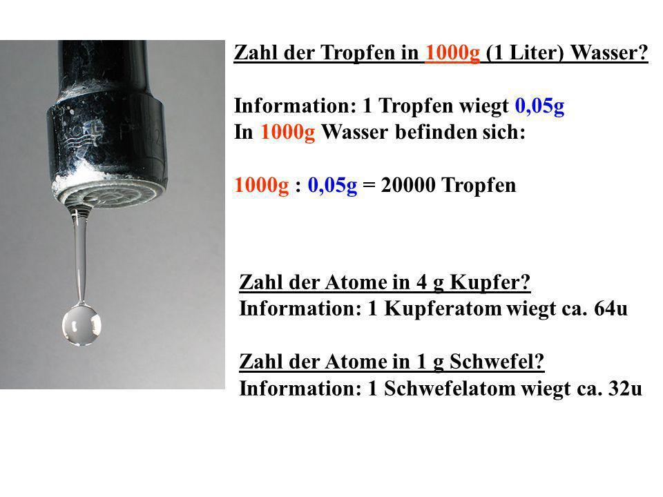 Zahl der Tropfen in 1000g (1 Liter) Wasser