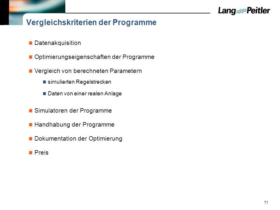 Vergleichskriterien der Programme