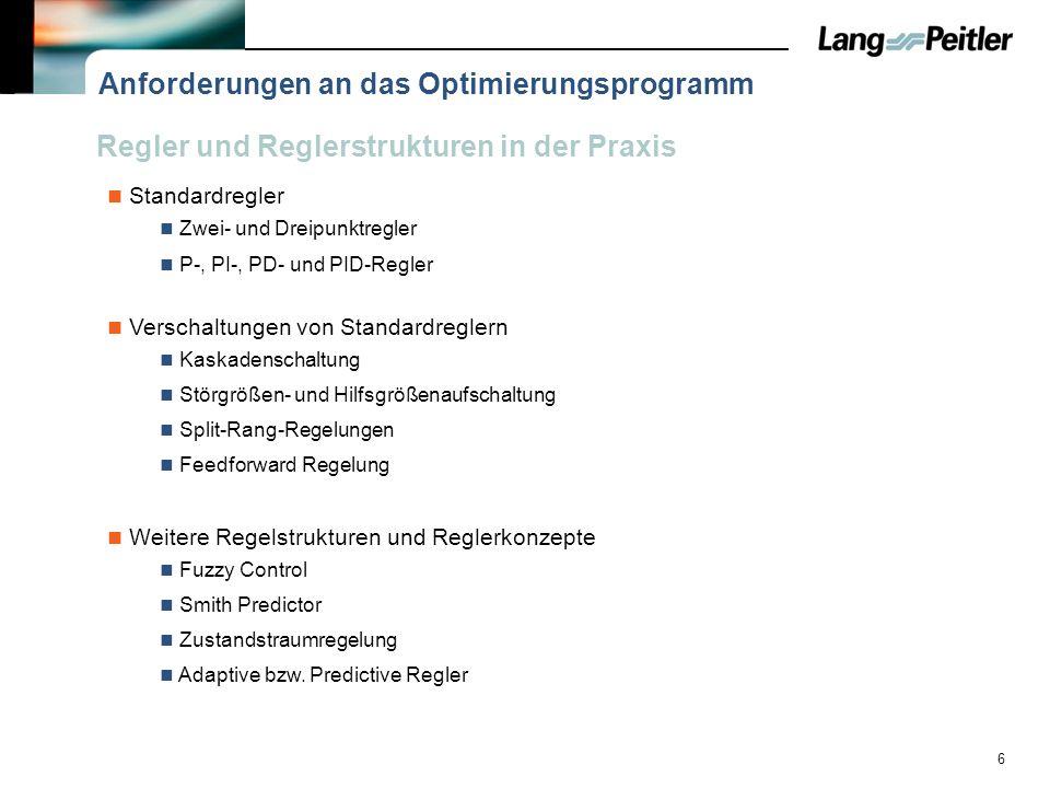 Anforderungen an das Optimierungsprogramm