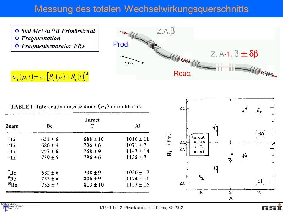 Messung des totalen Wechselwirkungsquerschnitts