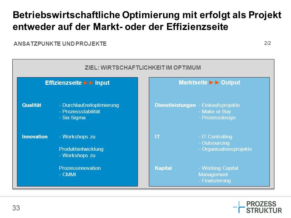 Betriebswirtschaftliche Optimierung mit erfolgt als Projekt entweder auf der Markt- oder der Effizienzseite