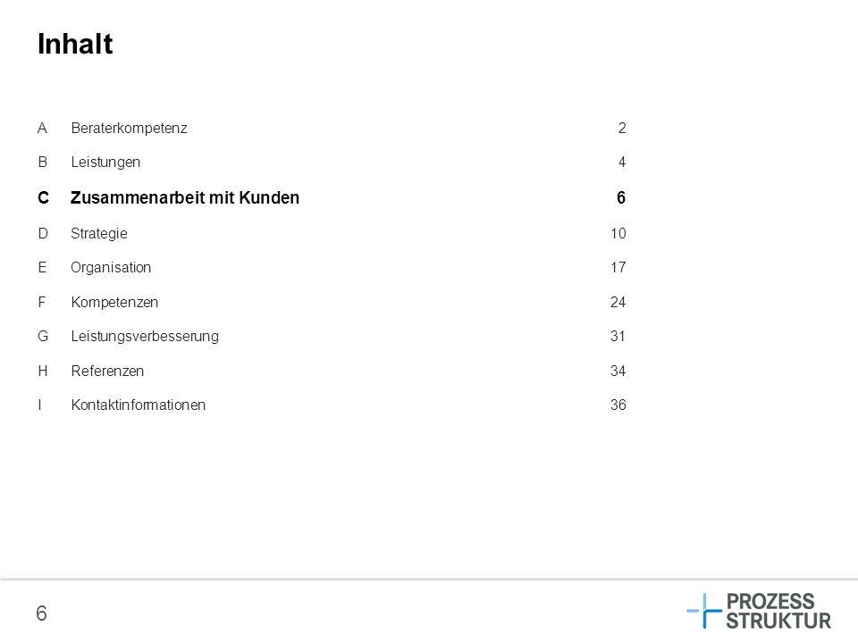 Inhalt C Zusammenarbeit mit Kunden 6 A Beraterkompetenz 2