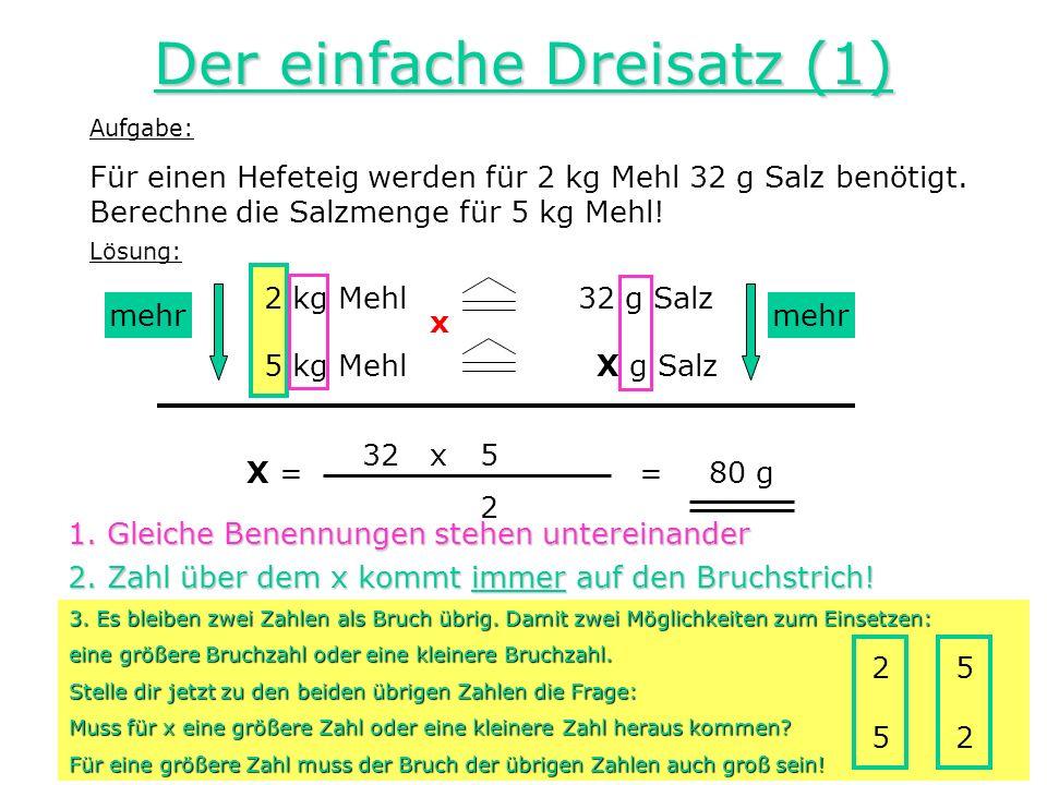 Der einfache Dreisatz (1)