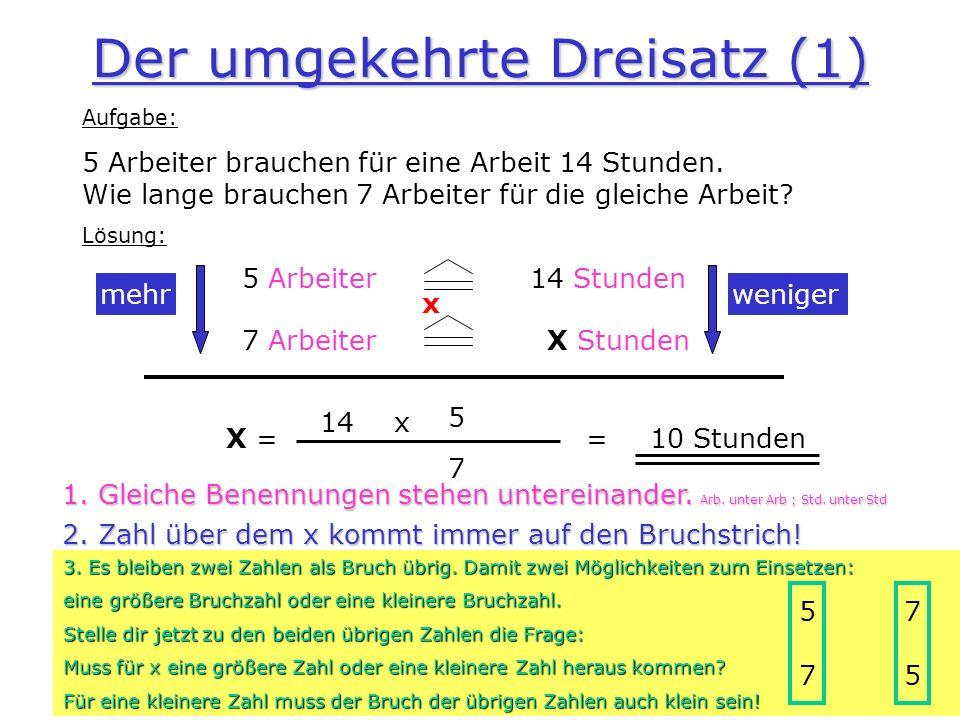 Der umgekehrte Dreisatz (1)